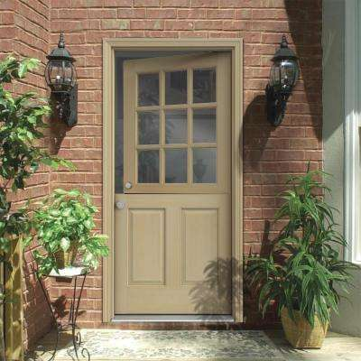 30 in. x 80 in. 9 Lite Unfinished Wood Prehung Right-Hand Inswing Dutch Back Door w/Primed AuraLast Jamb and Brickmold