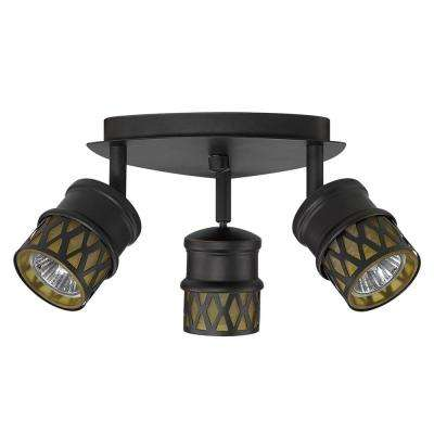 Kearney 3-Light Oil-Rubbed Bronze Canopy with Champagne Glass Shades