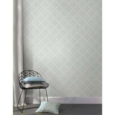 30.75 sq. ft. Grey Quatrefoil Peel and Stick Wallpaper