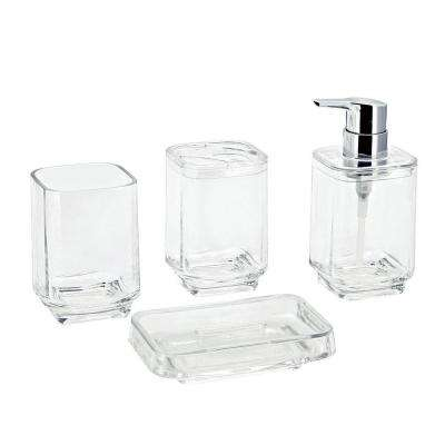 Bright Collection 4-Piece Bath Accessory Set in Clear