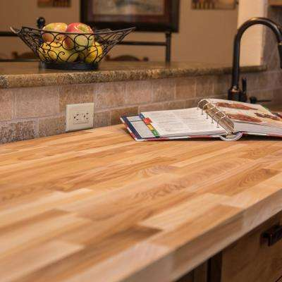 8 ft. 2 in. L x 2 ft. 1 in. D x 1.5 in. T Butcher Block Countertop in Unfinished Ash