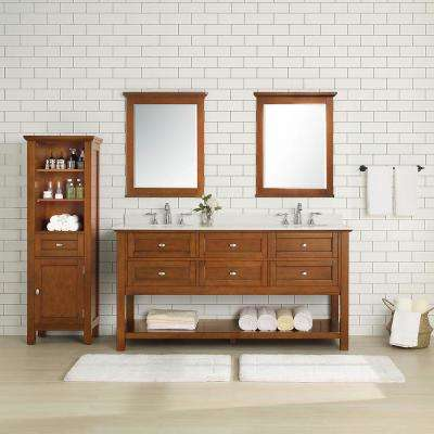 Austell 67 in. W x 22 in. D Vanity in Winter Cherry with Marble Vanity Top in White with White Sink