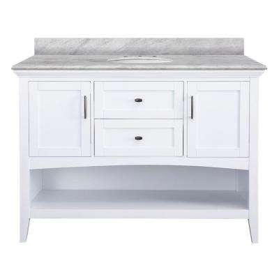 Brattleby 49 in. W x 22 in. D Vanity in White with Marble Vanity Top in Carrara White with White Basin