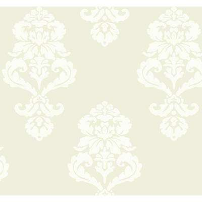 Black and White 60.75 sq. ft. Beige Graphic Damask Wallpaper