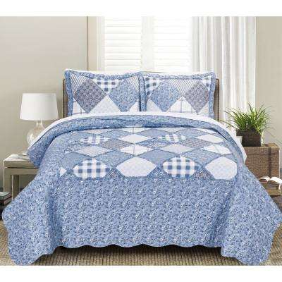 Morgan Home Mhf Home 2 Piece Isabella Floral And Plaid Patchwork Twin Quilt Set M591778 The Home Depot