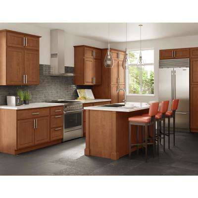 Madison Assembled 33x84x24 in. Pantry/Utility Double Oven Cabinet in Chestnut
