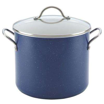 New Traditions Speckled Aluminum Nonstick 12 qt. Covered Stockpot in Blue