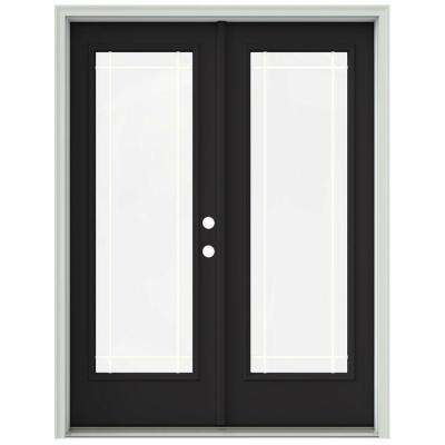 60 in. x 80 in. Chestnut Bronze Prehung Left-Hand Inswing 9 Lite French Patio Door with Brickmould