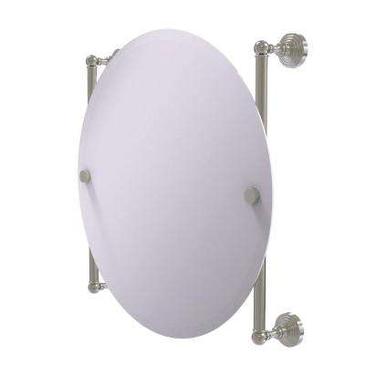 Waverly Place Collection Round Frameless Rail Mounted Mirror in Satin Nickel