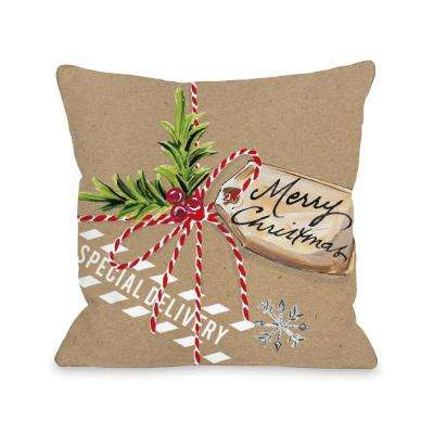 Christmas Package 16 in. x 16 in. Decorative Pillow