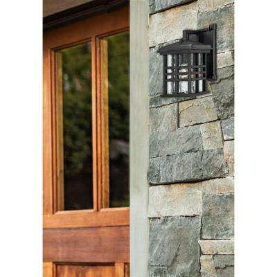 Caliste Textured Black Outdoor Dusk to Dawn Wall Lantern Sconce