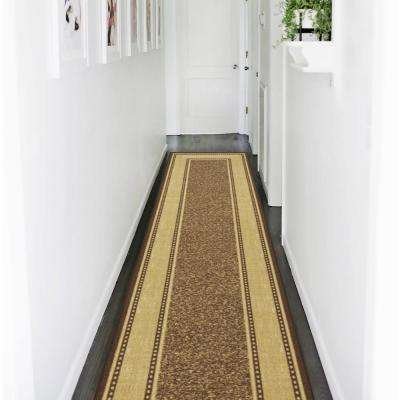Ottohome Collection Contemporary Bordered Design Brown 3 ft. x 10 ft. Non-Skid Runner Rug