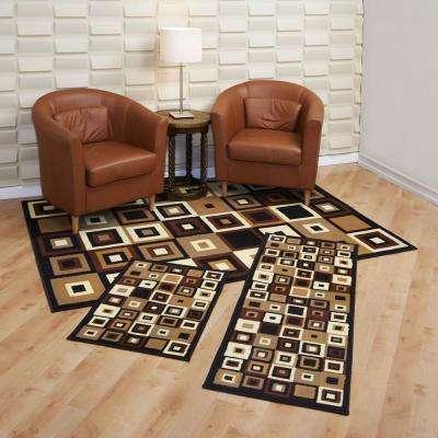 Capri Southwest Tiles 5 ft. x 7 ft. 3-Piece Rug Set