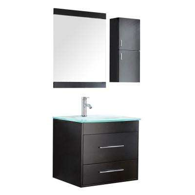 Olympia 24 in. W x 19.5 in. D x 21 in. H Vanity in Wenge with Glass Top and Basin in Blue/Green and Mirror