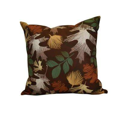 16 in. x 16 in. Watercolor Leaves, Floral Print Pillow, Brown
