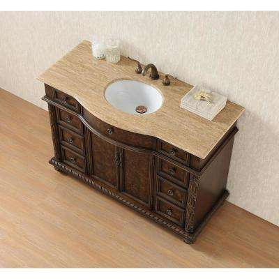 Amelia 48 in. Vanity in Dark Cherry with Marble Vanity Top in Travertine with White Under-Mount Sink