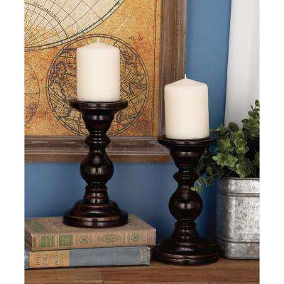 Classic Tapered Brown Carved Mango Wood Candle Holder (Set of 2)