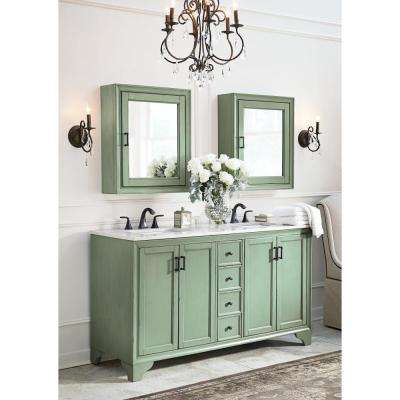 Hazelton 61 in. W Double Bath Vanity in Antique Green w/Engineered Stone Vanity Top in Crystal White with White Sinks