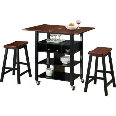 Phoenix 27.5 in. W Kitchen Island Cart in Mahogany and Black with 2-Stools