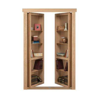 72 in. x 80 in. Flush Mount Assembled Cherry Unfinished Out-Swing Solid Core Interior French Bookcase Door