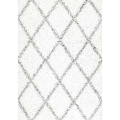 Shanna Shag White 7 ft. 10 in. x 10 ft. Area Rug
