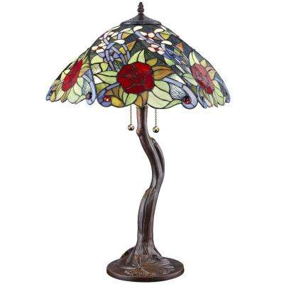 Tiffany Rose Styled 26 in. Bronze Table Lamp
