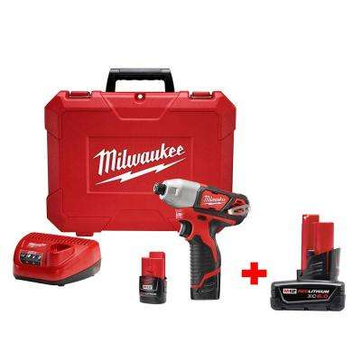 M12 12-Volt Lithium-Ion 1/4 in. Cordless Impact Driver Kit with 6.0Ah Battery