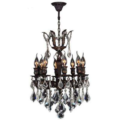 Versailles Collection Chandelier 8-Light Flemish Brass Chandelier with Clear Crystal