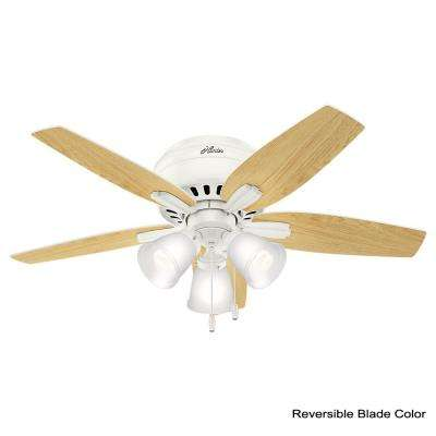 Newsome 42 in. LED Indoor Low Profile Fresh White Ceiling Fan with 3-Light Kit