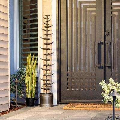 """Alpine Corporation 70"""" Tall Indoor/Outdoor Metal Tiered Floor Water Fountain"""