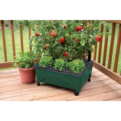 24.5 in. x 20.5 in. Patio Raised Garden Bed Grow Box Kit with Watering System and Casters in Evergreen