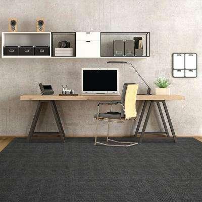 Premium Self-Stick Hobnail Gunmetal Texture 18 in. x 18 in. Indoor/Outdoor Carpet Tile (16 Tiles / case)