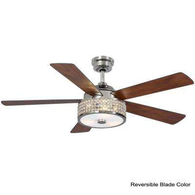 Montclaire 52 in. LED Polished Nickel Ceiling Fan with Light Kit works with Google Assistant and Alexa