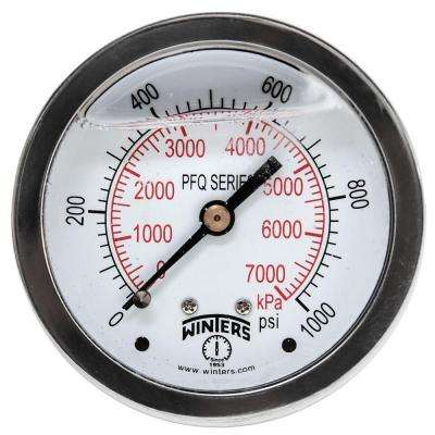 PFQ Series 2.5 in. Stainless Steel Liquid Filled Case Pressure Gauge with 1/4 in. NPT CBM and Range of 0-1000 psi/kPa