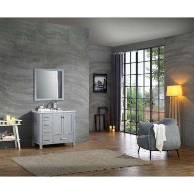 Cambridge 37 in. Bath Vanity in Grey with Marble Vanity Top in Grey with White Basin