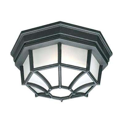Outdoor Essentials 1-Light Outdoor Flush Mount Black Ceiling Fixture