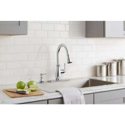 Kagan Single-Handle Pull-Down Sprayer Kitchen Faucet with Soap Dispenser in Chrome