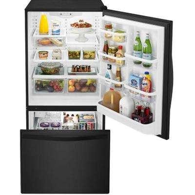 22 cu. ft. Bottom Freezer Refrigerator in Black with SPILL GUARD Glass Shelves