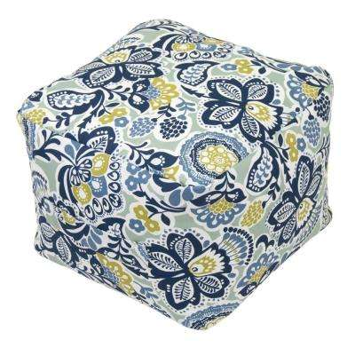 Sarong Floral Square Outdoor Pouf Cushion with Handle