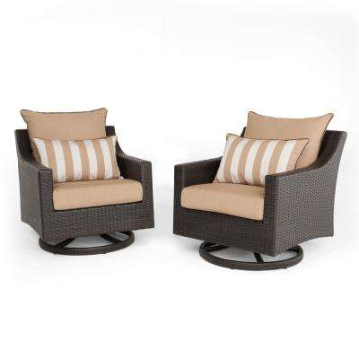 Deco 2-Piece All-Weather Wicker Patio Motion Club Chair Seating Set with Maxim Beige Cushions