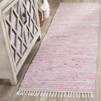 Rag Rug Light Pink/Multi 2 ft. x 10 ft. Runner