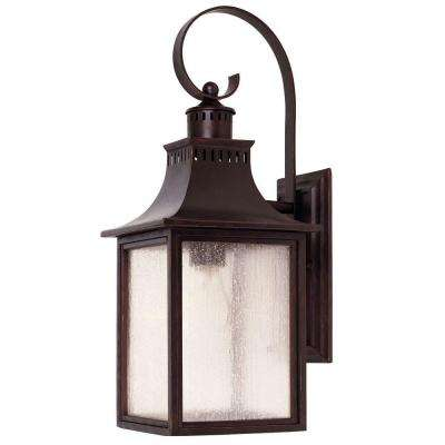 1 Light Wall Mount Lantern English Bronze Finish Pale Cream Seeded Glass