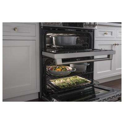 Cafe 6.7 cu. ft. Slide-In Double Oven Smart Dual Fuel Range with Self-Cleaning Convection Oven in Stainless Steel