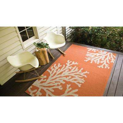 Reef Apricot Orange 5 ft. x 8 ft. Conversational Area Rug