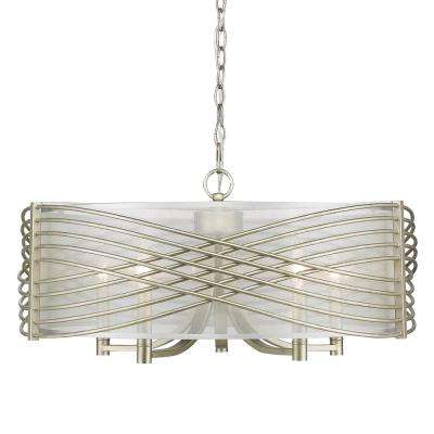 Zara 5-Light White Gold Chandelier with Sheer Opal Shade