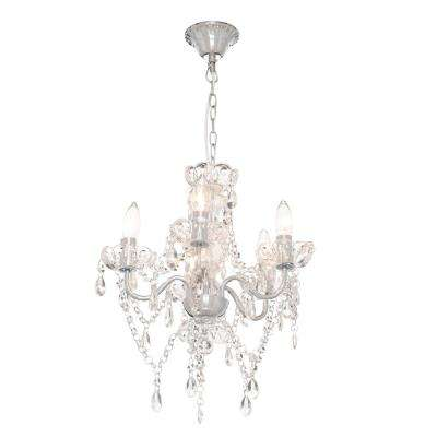 5-Light Chrome and White Crystal Chandelier