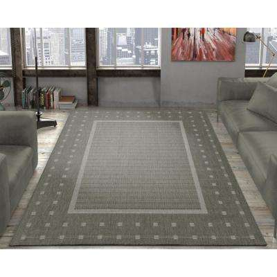 Jardin Collection Contemporary Bordered Design Gray 5 ft. x 7 ft. Outdoor Area Rug