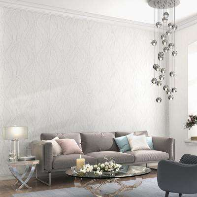 56.4 sq. ft. Onyx White Dotted Lines Wallpaper