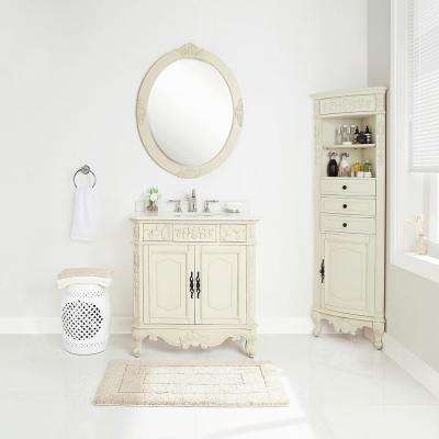 Winslow 33 in. W x 22 in. D Vanity in Antique White with Marble Vanity Top in White with White Sink