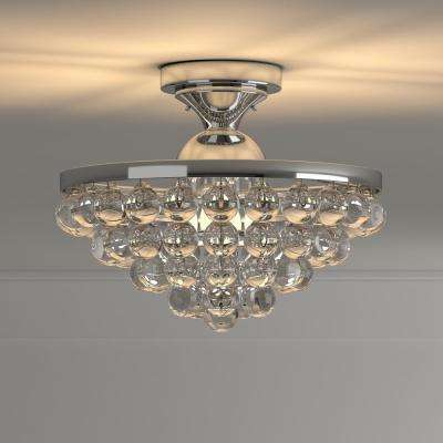 13 in. 4-Light Chrome Semi-Flush Mount with Clear Crystal Balls Shade